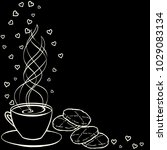 tea party frame. black and... | Shutterstock .eps vector #1029083134
