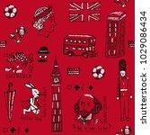 english pattern. hand drawn... | Shutterstock .eps vector #1029086434