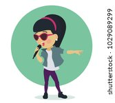 little cute girl in sunglasses... | Shutterstock .eps vector #1029089299