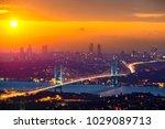 lovely sunset over bosphorus... | Shutterstock . vector #1029089713
