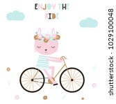 cute kids poster with bunny and ... | Shutterstock .eps vector #1029100048