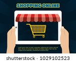 flat design concepts online... | Shutterstock .eps vector #1029102523