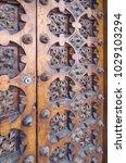 ancient engraved wooden  doors... | Shutterstock . vector #1029103294