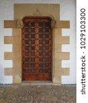 ancient engraved wooden  doors... | Shutterstock . vector #1029103300
