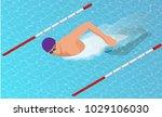 isometric male swimmers doing... | Shutterstock .eps vector #1029106030