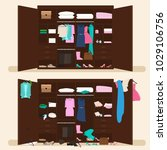 wardrobes with clothes. tidy... | Shutterstock .eps vector #1029106756