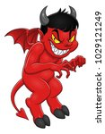 cute and evil demon on the... | Shutterstock .eps vector #1029121249