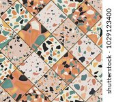 seamless terrazzo pattern. hand ... | Shutterstock .eps vector #1029123400