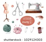 watercolor sewing set for... | Shutterstock . vector #1029124303