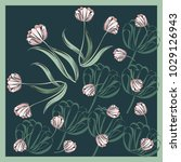 retro flower square composition.... | Shutterstock . vector #1029126943