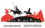 don quixote with his servant ... | Shutterstock .eps vector #1029129034