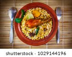 bombay biryani  top shot of...   Shutterstock . vector #1029144196