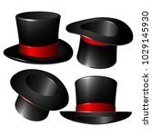 set of black magician cylinder... | Shutterstock .eps vector #1029145930