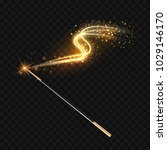 magic wand with magical gold... | Shutterstock .eps vector #1029146170