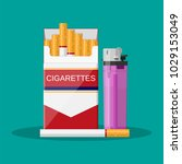 opened red cigarette pack with... | Shutterstock .eps vector #1029153049