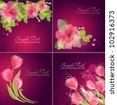 set of 4 romantic flower... | Shutterstock .eps vector #102916373