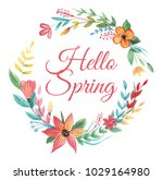 wreath of colorful wildflower... | Shutterstock . vector #1029164980