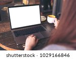 mockup image of a woman using... | Shutterstock . vector #1029166846