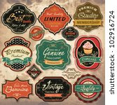 Collection of vintage retro grunge labels, badges and icons | Shutterstock vector #102916724