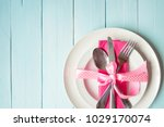 table setting in white and pink ... | Shutterstock . vector #1029170074
