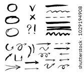 set of hand drawn arrow  line   ... | Shutterstock .eps vector #1029194908