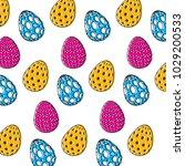 decorative easter eggs... | Shutterstock .eps vector #1029200533