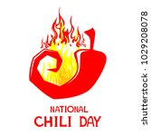 national chili day. red hot... | Shutterstock .eps vector #1029208078