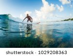 surfer rides the wave. extreme... | Shutterstock . vector #1029208363