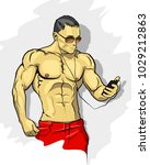 muscle man graffiti icon ... | Shutterstock .eps vector #1029212863
