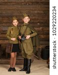 couple children in the old... | Shutterstock . vector #1029220234