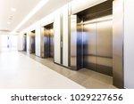 modern steel elevator cabins in ... | Shutterstock . vector #1029227656