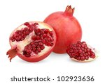 ripe pomegranate fruit with... | Shutterstock . vector #102923636