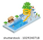isometric aqua park with water... | Shutterstock .eps vector #1029240718