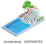 isometric aqua park with water...   Shutterstock .eps vector #1029240733