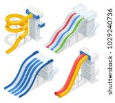 isometric colorful water slides ... | Shutterstock .eps vector #1029240736