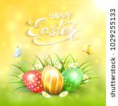 three colorful easter eggs with ... | Shutterstock .eps vector #1029255133