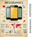 retro vector set of infographic ... | Shutterstock .eps vector #102925526