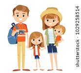 cartoon family on vacation   Shutterstock .eps vector #1029258514