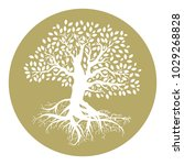 gold logo  oak tree with roots | Shutterstock .eps vector #1029268828