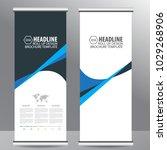 blue roll up business brochure... | Shutterstock .eps vector #1029268906