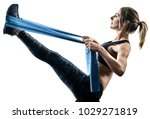 one caucasian woman exercising... | Shutterstock . vector #1029271819