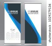 blue roll up business brochure... | Shutterstock .eps vector #1029279136