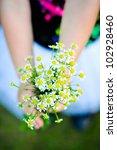Toddler Girl Holding Bouquet O...