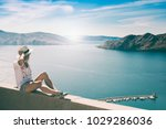 woman on summer vacation... | Shutterstock . vector #1029286036