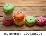 colored french macaroons on a... | Shutterstock . vector #1029286306