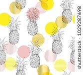summer fresh outline pineapple... | Shutterstock .eps vector #1029287698