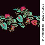 seamless vector floral border... | Shutterstock .eps vector #1029291538