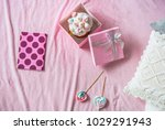 top view easter cake in pink... | Shutterstock . vector #1029291943
