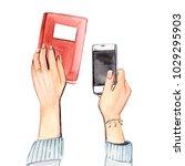 hands with stuff top view | Shutterstock . vector #1029295903