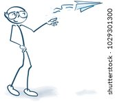 stick figure with a paper... | Shutterstock .eps vector #1029301300